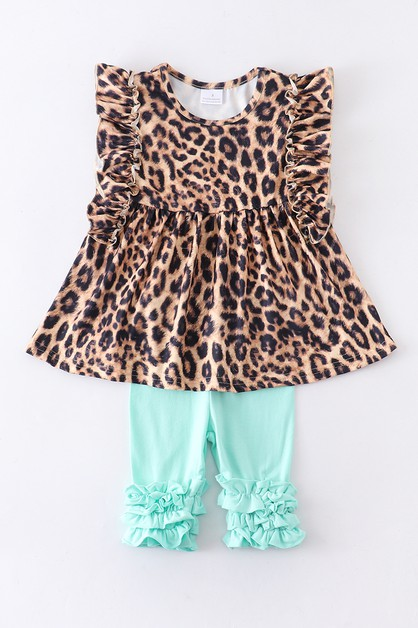 Leopard mint capri set - orangeshine.com
