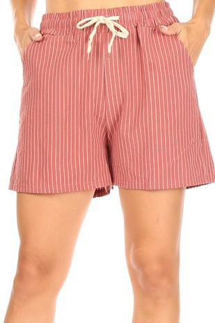 PIN STRIPED DRAWSTRING SHORTS - orangeshine.com