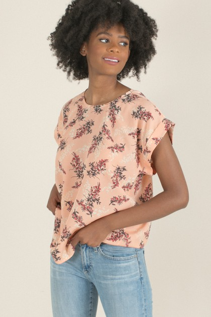 Blush Floral Cuffed Sleeve Top - orangeshine.com