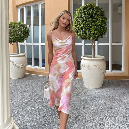 Elegant Print Halter Fashion Dress - orangeshine.com
