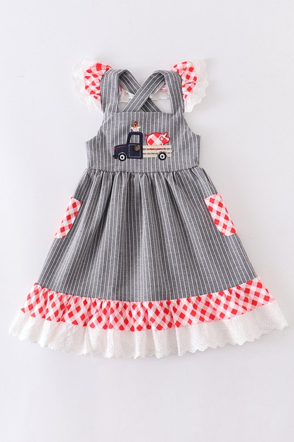 Animal applique stripe lace dress - orangeshine.com