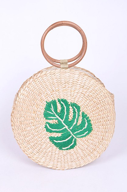 Palm Leaf Embroidered Straw Circle B - orangeshine.com