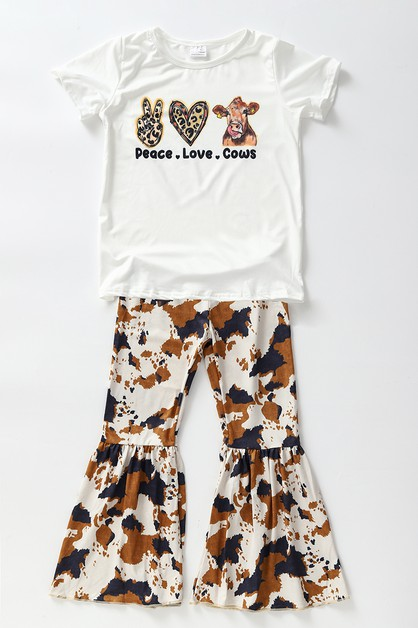 Peace love cow bell pants set - orangeshine.com