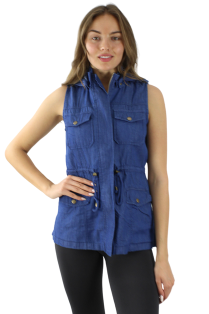 Light Denim Hoodie Vest Jacket - orangeshine.com
