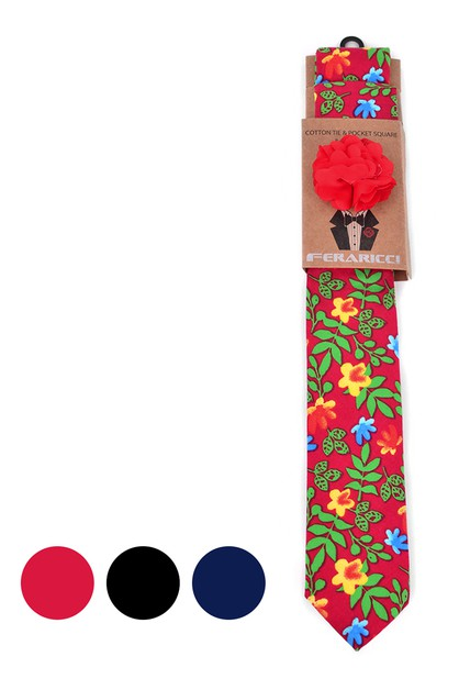 Mens Bright Floral Cotton Skinny Tie - orangeshine.com