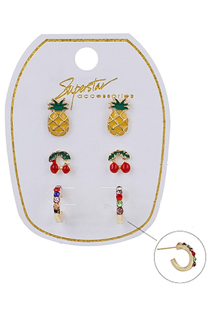 3-Pair Multi Earring Set - orangeshine.com