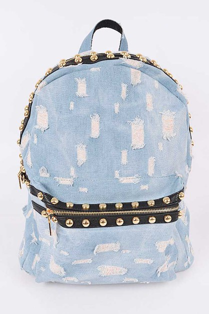 Distressed Denim Iconic Backpack - orangeshine.com