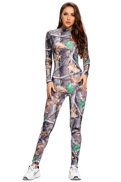 Retro Printed Long Sleeve Jumpsuit - orangeshine.com