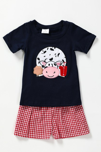 Farm animal applique shorts set - orangeshine.com