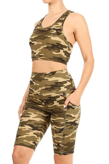 Army Camo Sets Biker Shorts Tops - orangeshine.com