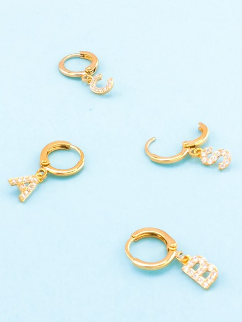 Pave Drop Initial Earrings - orangeshine.com