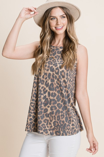 CASUAL ANIMAL PRINT TANK TOP - orangeshine.com