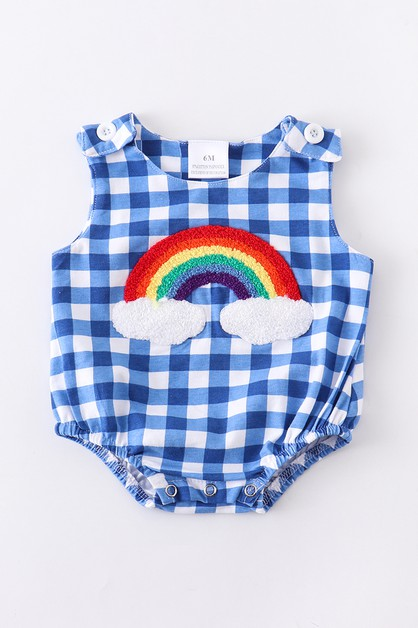 Rainbow gingham baby bubble romper - orangeshine.com