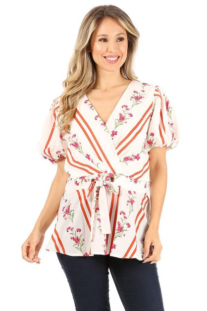 Floral and striped top with wrapped - orangeshine.com