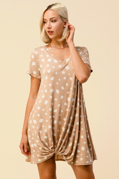 LEOPARD V-NECK FRONT TIE DRESS - orangeshine.com