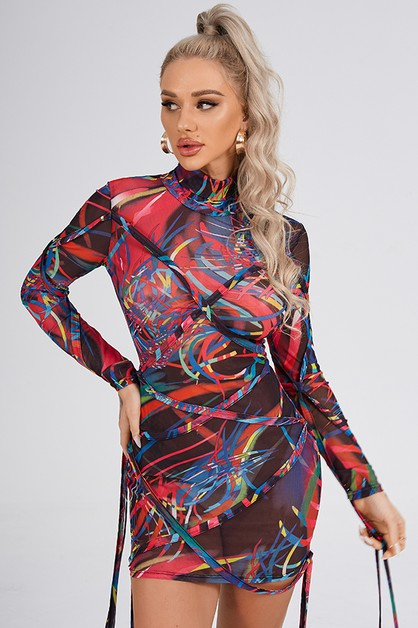 Net Yarn Printed Turtleneck Dress - orangeshine.com