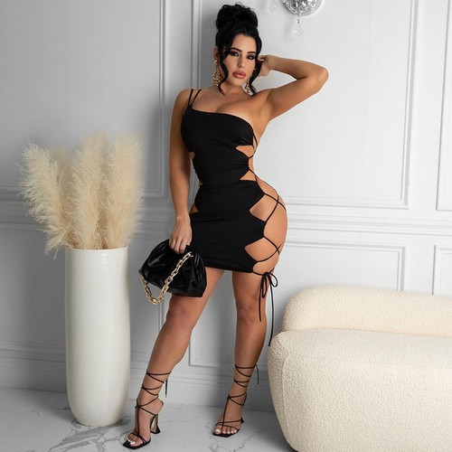 Sexy Cut Out Side Fashion Mini Dress - orangeshine.com