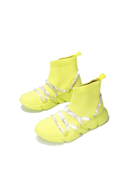 Lace Up Fashion Sneaker Wedge - orangeshine.com