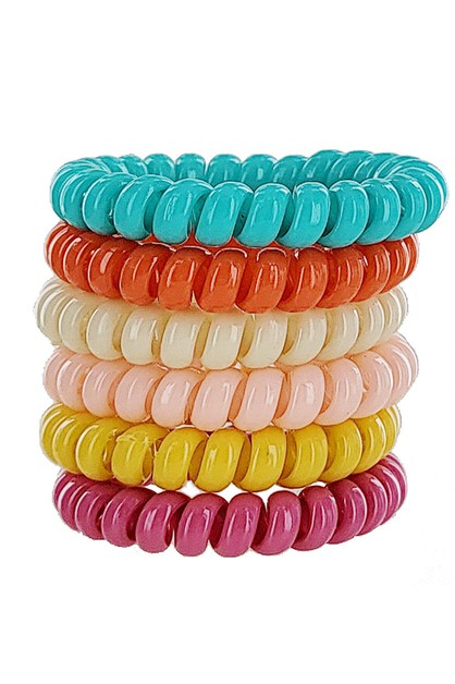 6-pc Phone Cord Hair Tie Set - orangeshine.com