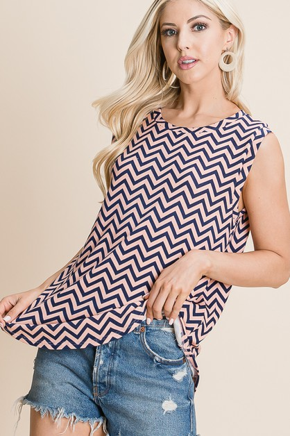 RELAXED FIT ZIGZAG TANK TOP - orangeshine.com