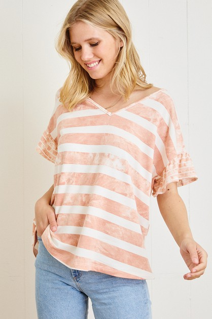 Stripe Print V-neck Top - orangeshine.com