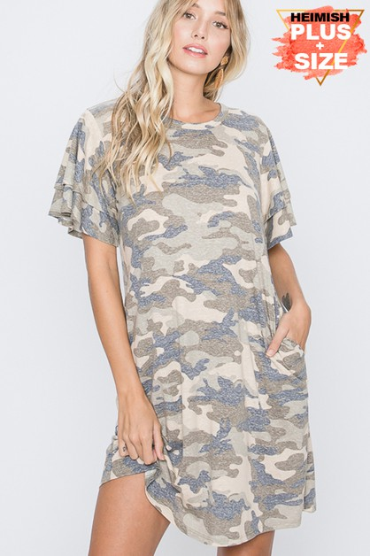 PLUS RUFFLED SLEEVE CAMO DRESS WITH - orangeshine.com