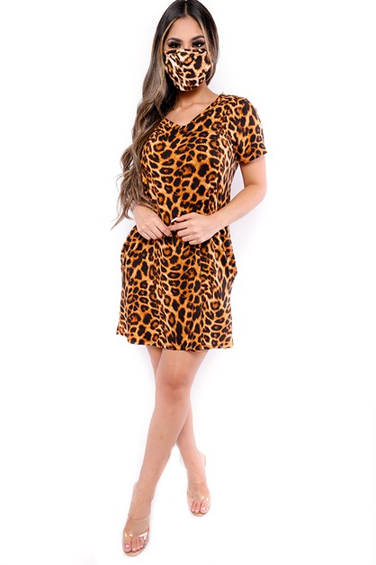 ANIMAL PRINT TUNIC DRESS WITH MASK - orangeshine.com