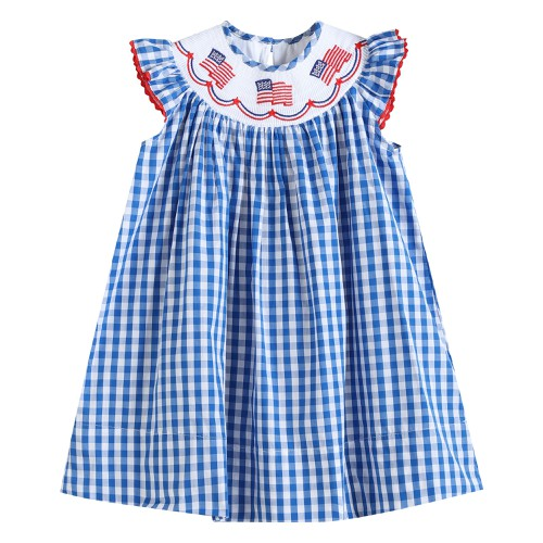 Smocked flag patriotic gingham dress - orangeshine.com