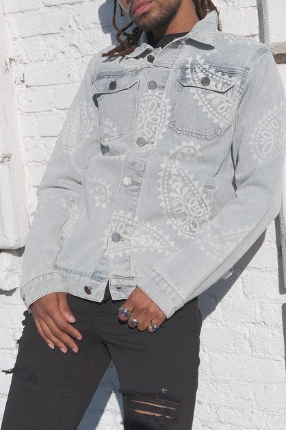 MEN GARMENT DYED PAISLEY DENIM JACKE - orangeshine.com