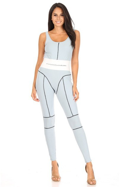 Tight Waist Sports Jumpsuit - orangeshine.com