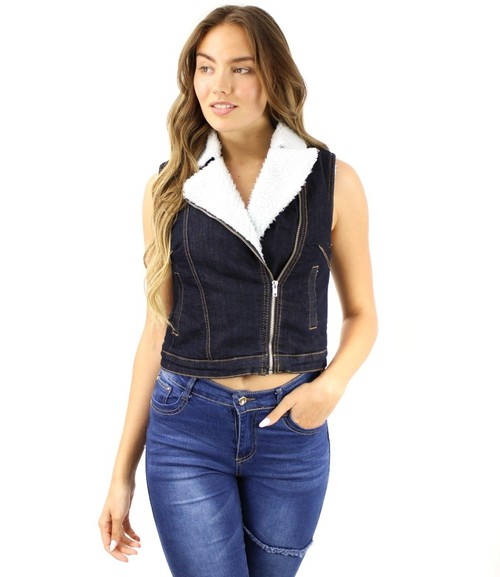 Faux Fur Fake Pockets Vest - orangeshine.com