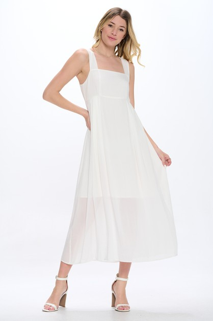 Square Neck Cut Out Back Airy Midi D - orangeshine.com