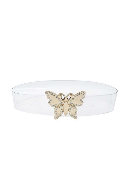 FASHION BUTTERFLY BUCKLE CLEAR BELT - orangeshine.com