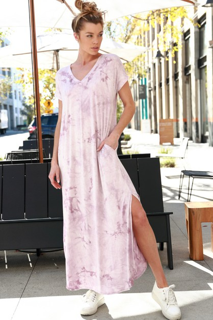 Tie Dye Slit Maxi Dress - orangeshine.com