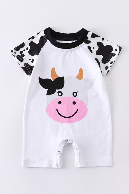 Cow applique baby romper - orangeshine.com