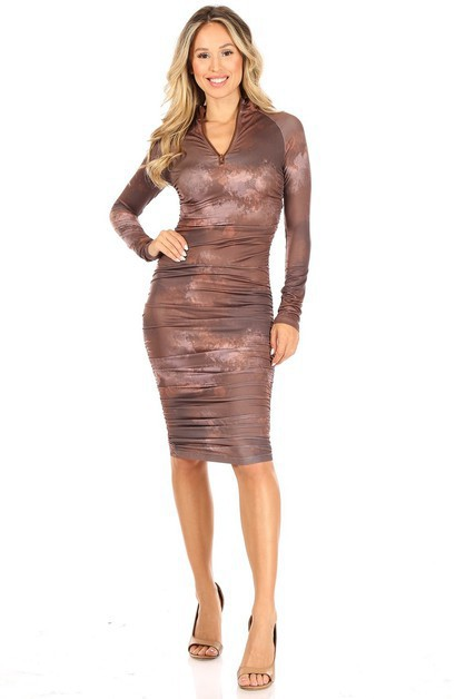 Round Neck Long Sleeve Bodycon Dress - orangeshine.com