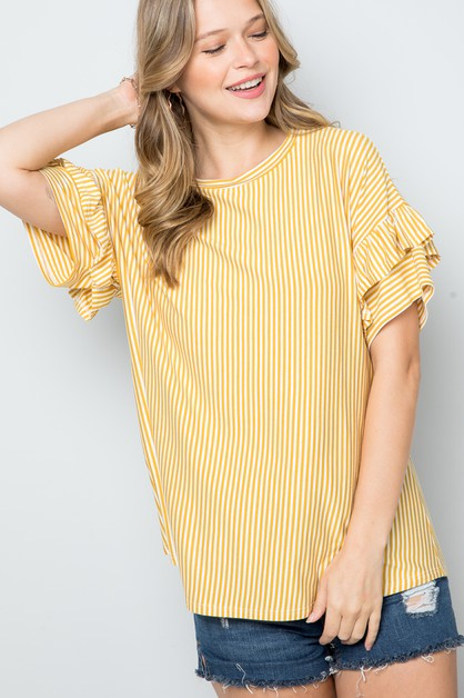 PIN STRIPE RUFFLE SHORT SLEEVE TOP - orangeshine.com