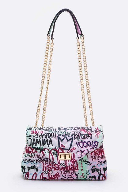 Graffiti Quilted Shoulder Bag - orangeshine.com