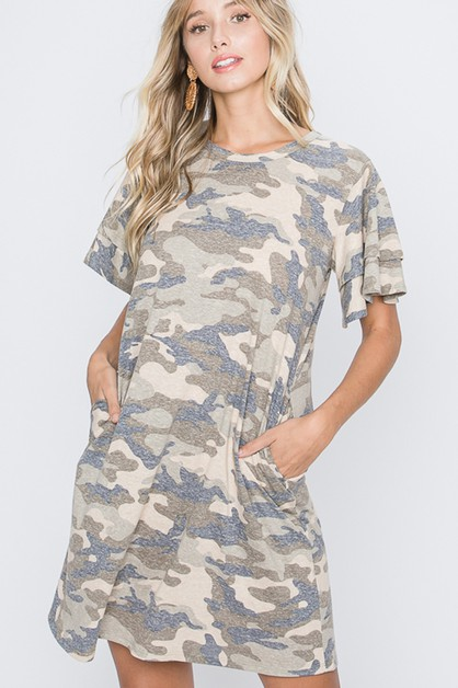 RUFFLED SLEEVE CAMO DRESS WITH SIDE - orangeshine.com