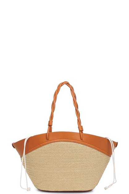 STYLISH TWO TONE STRAW CYPRUS TOTE B - orangeshine.com