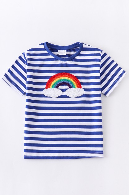 Rainbow applique stripe shirt - orangeshine.com