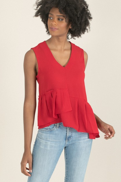 Red Pleated Peplum Top - orangeshine.com