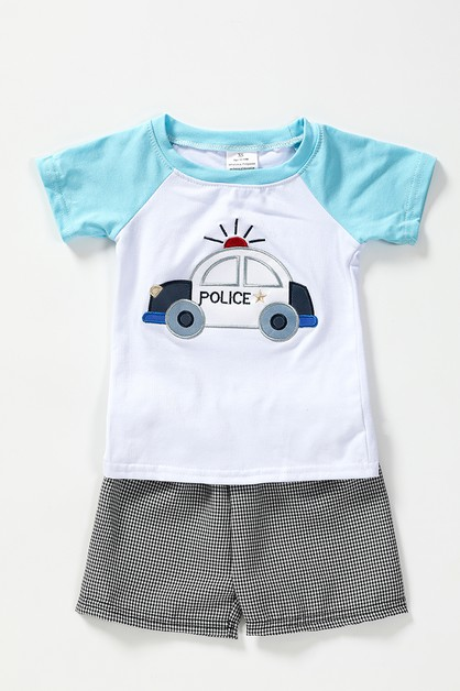 Police car applique shorts set - orangeshine.com