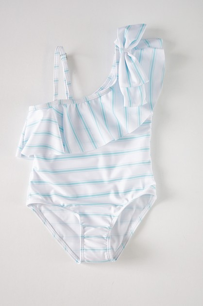 Mint stripe off shoulder ruffle swim - orangeshine.com