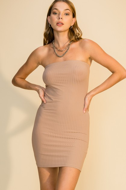 RIBBED TUBE MINI DRESS - orangeshine.com