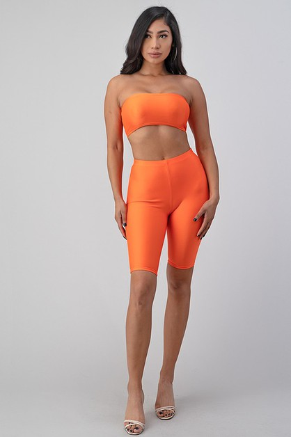 STRAPLESS CROP TOP SET - orangeshine.com