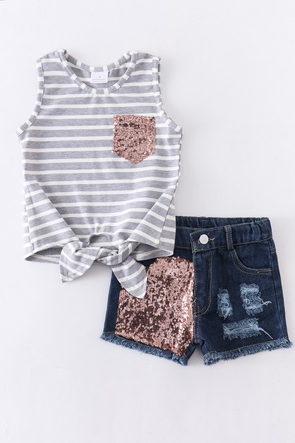 Stripe sequins denim shorts set - orangeshine.com