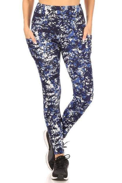 Navy Tie Dye Sports Leggings Yoga - orangeshine.com