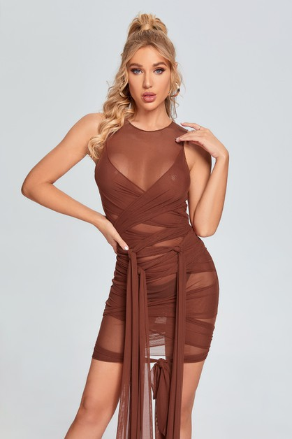 Net Yarn Straps Sleeveless Dress - orangeshine.com