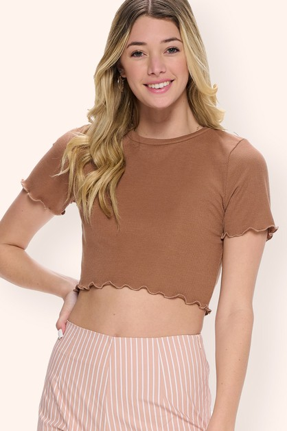 Ribbed Lettuce Trim Cropped Top - orangeshine.com